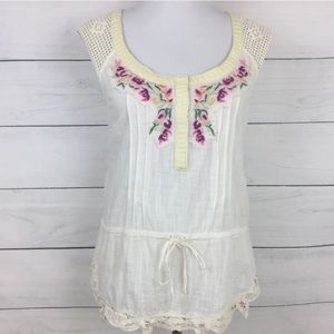 Free People Embroidered Ivory Crochet Blouse
